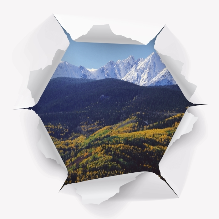 Fototapeta winylowa Dziura w ścianie - Wilson Peak. Kolorado. - Dziury w ścianie