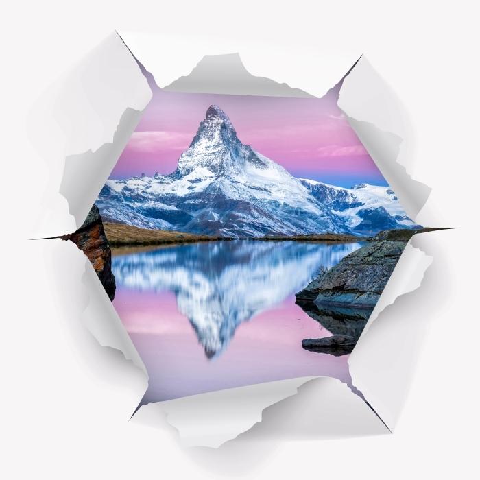 Papier peint vinyle Trou dans le mur - lac et montagnes - Les trous dans le mur