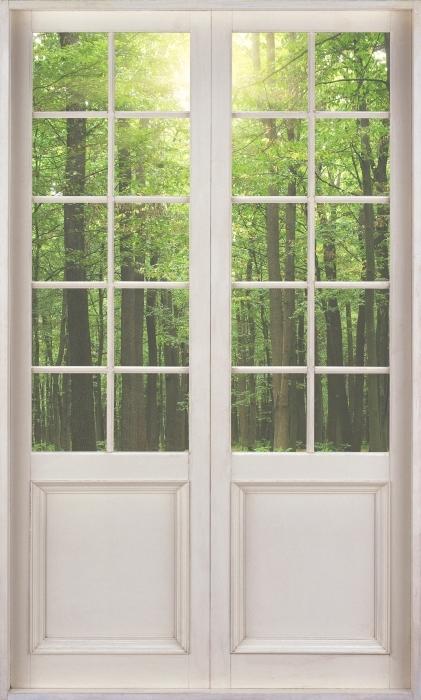 Vinyl-Fototapete Weißer Tür - Wald in der Sonne - Blick durch die Tür