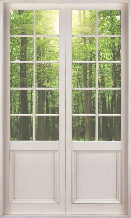 Fototapeta winylowa Białe drzwi - Las w słońcu - Widok przez drzwi