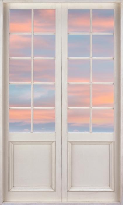 Vinyl-Fototapete Weiße Tür - Luftaufnahme - Blick durch die Tür