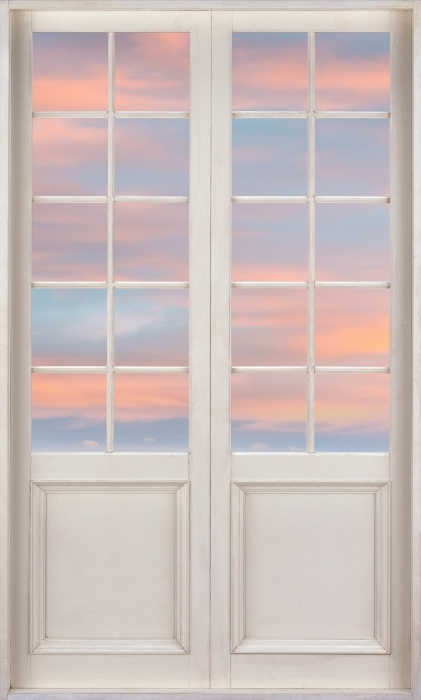 Fototapeta winylowa Białe drzwi - Widok z lotu ptaka - Widok przez drzwi