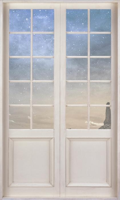 Papier peint vinyle Porte Blanche - Désert Rocheux - La vue à travers la porte