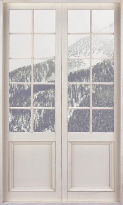Papier peint vinyle Porte Blanche - Nuages - La vue à travers la porte
