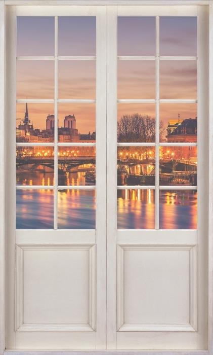 Fotomural Estándar Puerta blanca - París - Vistas a través de la puerta