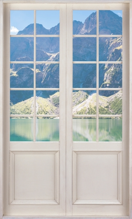 Papier peint vinyle Porte Blanche - Panorama Sea Eye - La vue à travers la porte