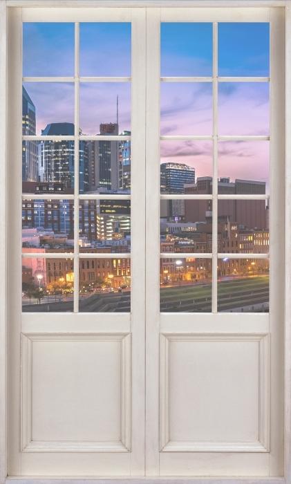 Vinyl-Fototapete Weiße Tür - Nashville Skyline - Blick durch die Tür