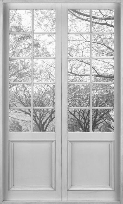Fototapeta winylowa Białe drzwi - Aleja. - Widok przez drzwi