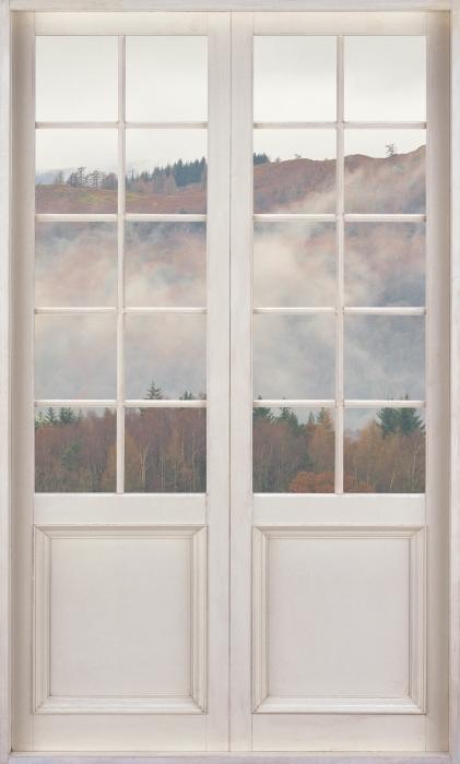 Vinyl Fotobehang White door - Lake District - Uitzicht door de deur
