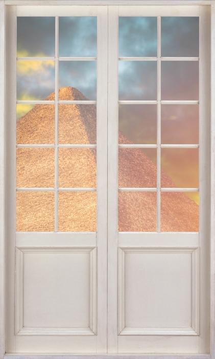 Papier peint vinyle Porte Blanche - Pyramides De Gizeh - La vue à travers la porte