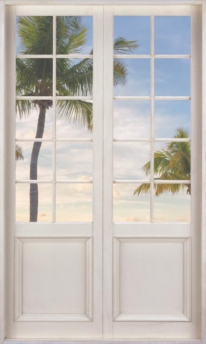 Fotomural Estándar Puerta blanca - Panorama - Vistas a través de la puerta