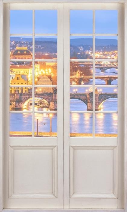 Papier peint vinyle Porte Blanche - Prague - La vue à travers la porte