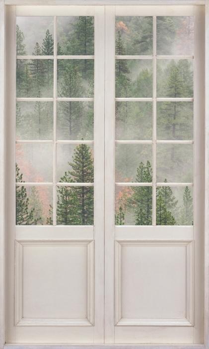 Papier peint vinyle Porte Blanche - Forêt Dans Le Brouillard - La vue à travers la porte