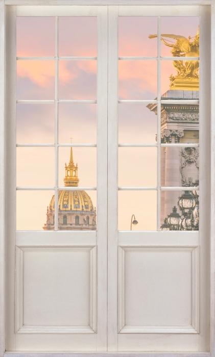 Papier peint vinyle Porte Blanche - Pont Alexandre Iii. Paris - La vue à travers la porte