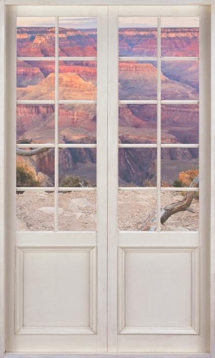 Papier peint vinyle Porte Blanche - Grand Canyon - La vue à travers la porte