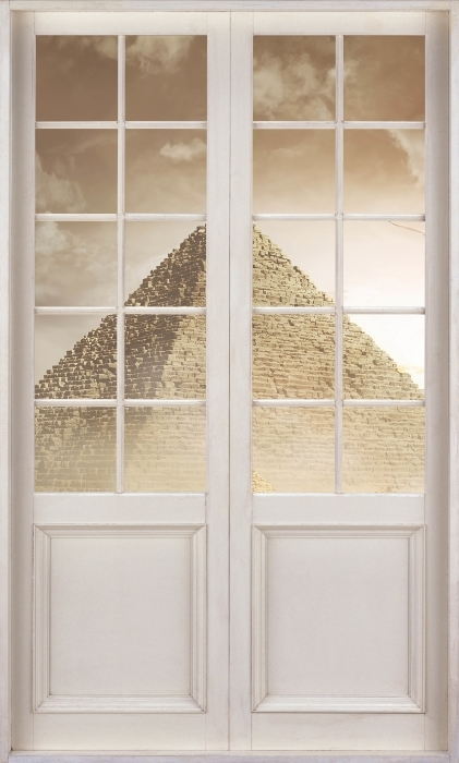 White door - Desert Vinyl Wall Mural - Views through the door
