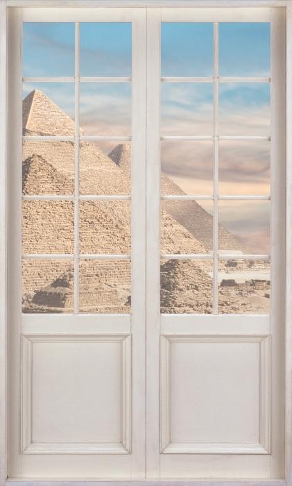Vinil Duvar Resmi Beyaz kapı - Mısır - Kapı manzarası
