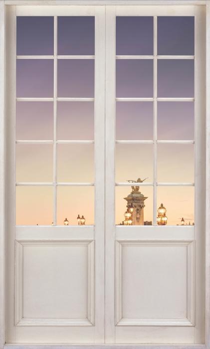 Fototapeta winylowa Białe drzwi - Most w Paryżu - Widok przez drzwi