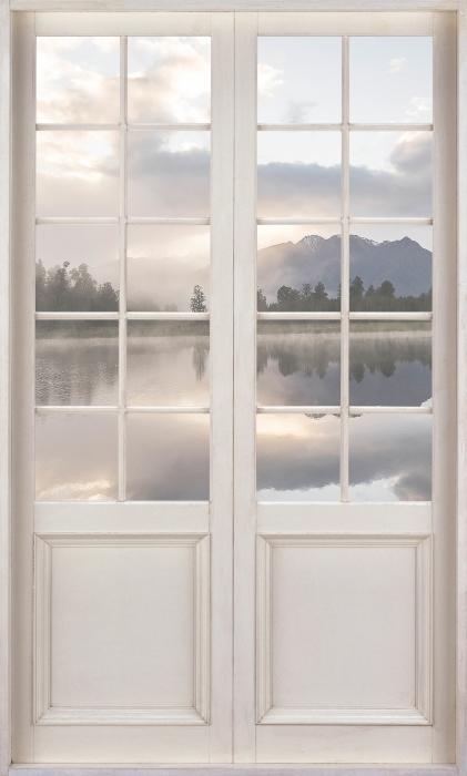 Carta da Parati in Vinile Porta bianca - Lago. Nuova Zelanda. - Vista attraverso la porta
