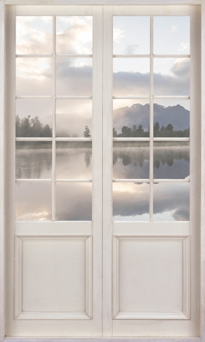 Vinyl-Fototapete Weiße Tür - See. Neuseeland. - Blick durch die Tür