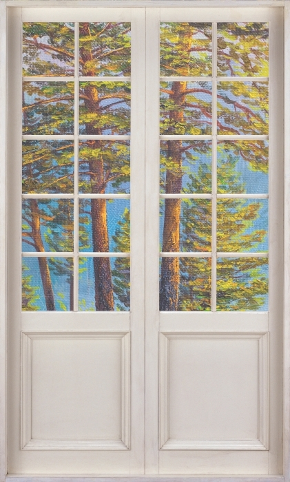 Papier peint vinyle Porte Blanche - Forêt D'Été - La vue à travers la porte