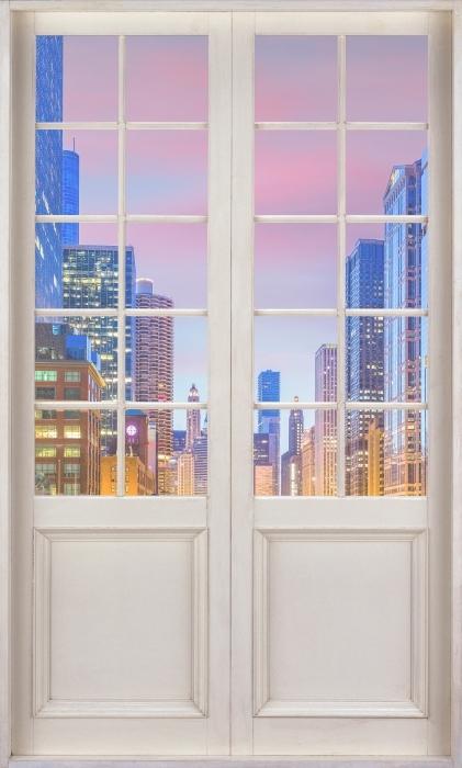 Fototapeta winylowa Białe drzwi - Chicago, Illinois, USA. - Widok przez drzwi