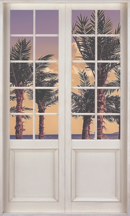 White door - Palma Vinyl Wall Mural - Views through the door