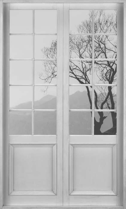 Fototapeta winylowa Białe drzwi - Krajobraz. Nowa Zelandia - Widok przez drzwi