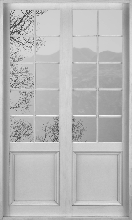Fotomural Estándar Puerta blanca - paisaje. nueva Zelandia - Vistas a través de la puerta