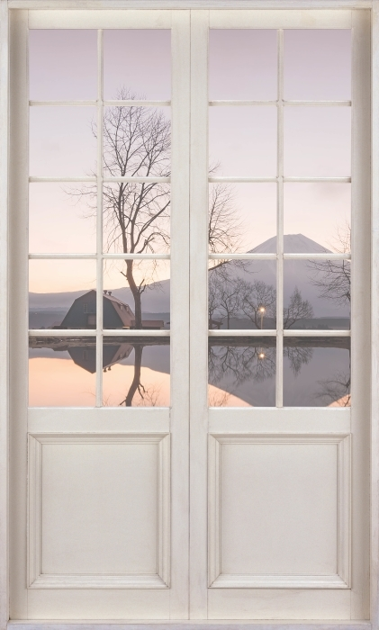 White door - Mount Fuji Vinyl Wall Mural - Views through the door
