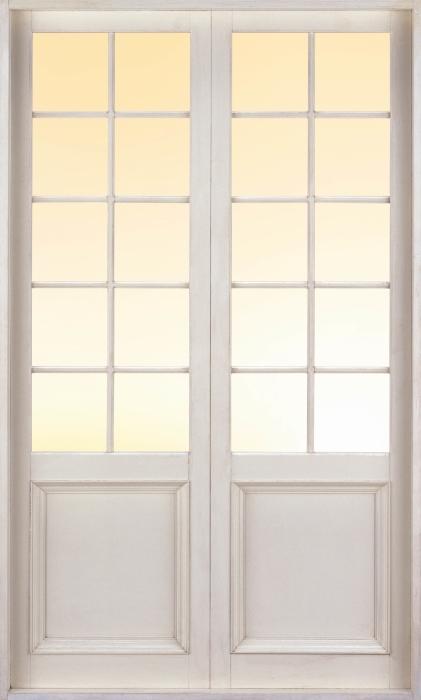 Papier peint vinyle Porte Blanche - Coucher De Soleil Sur L'Océan. - La vue à travers la porte