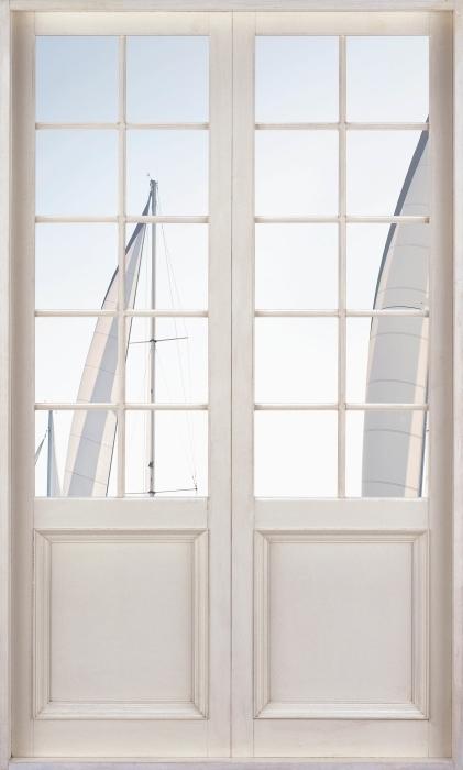 Fototapeta winylowa Białe drzwi - Jachty z białymi żaglami - Widok przez drzwi