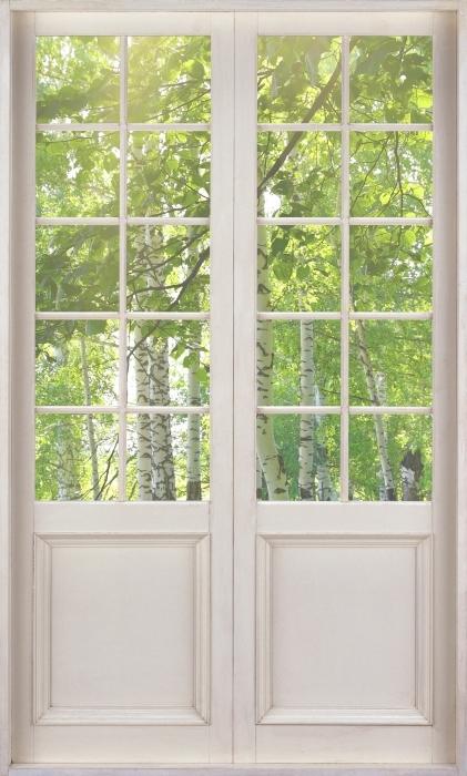 Fototapeta winylowa Białe drzwi - Lato. Brzozowe lasy. - Widok przez drzwi