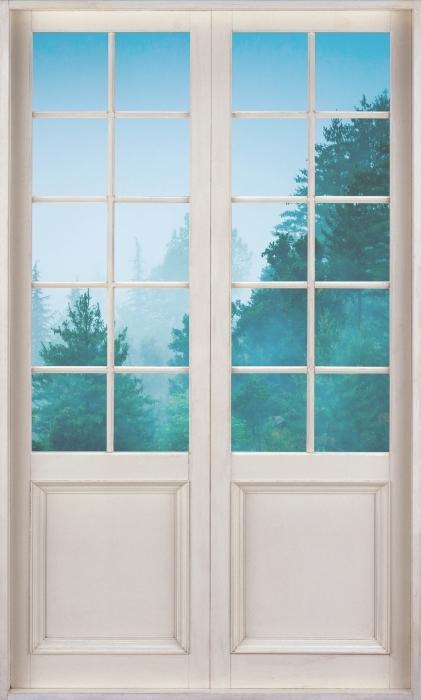 Papier peint vinyle Porte Blanche - Brouillard - La vue à travers la porte