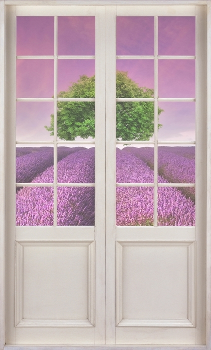 Fotomural Estándar Puerta blanca - paisaje de verano - Vistas a través de la puerta