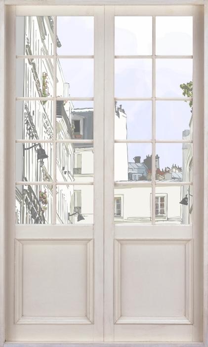 Vinyl Fotobehang White door - Paris - Uitzicht door de deur