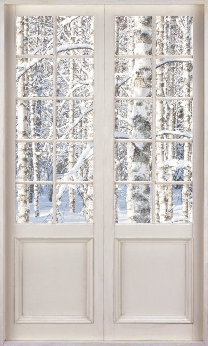 Papier peint vinyle Porte Blanche - Bouleau Neige - La vue à travers la porte