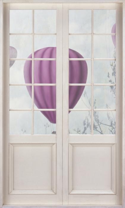 Papier peint vinyle Porte Blanche - Ballons Dans Le Ciel - La vue à travers la porte