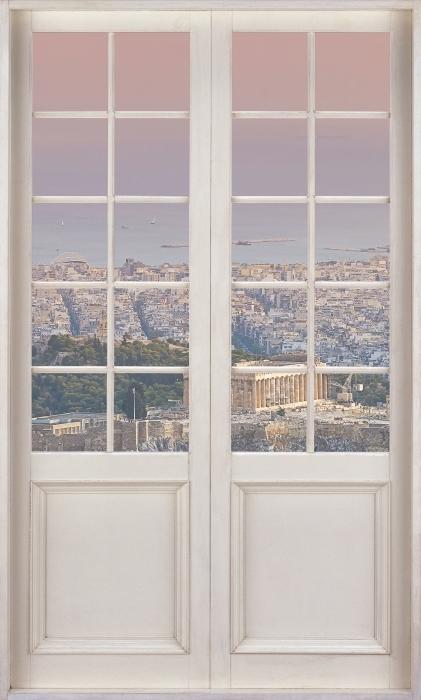 Carta da Parati in Vinile Porta bianca - Partenone. Grecia - Vista attraverso la porta
