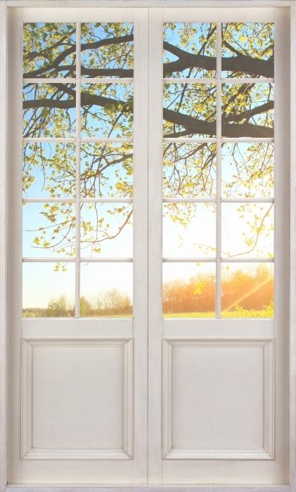 Fototapeta winylowa Białe drzwi - Drzewo - Widok przez drzwi