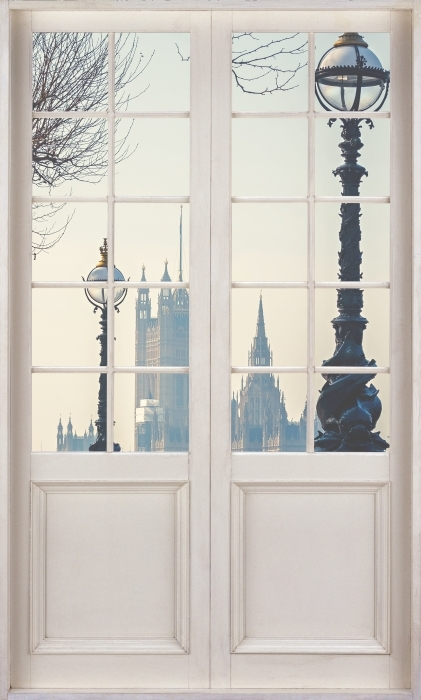 Fototapeta winylowa Białe drzwi - Big Ben. Londyn. - Widok przez drzwi