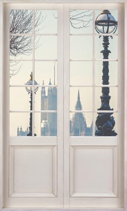 Papier peint vinyle Porte Blanche - Big Ben. Londres. - La vue à travers la porte