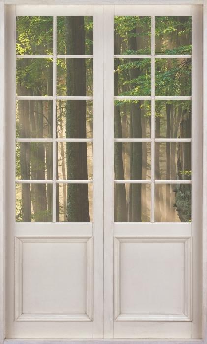 Papier peint vinyle Porte Blanche - Automne - La vue à travers la porte