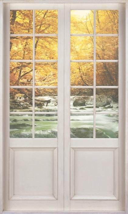 Papier peint vinyle Porte Blanche - Forêt Et Chute D'Eau - La vue à travers la porte