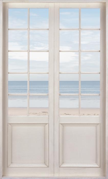 Carta da Parati in Vinile Bianco porta - la spiaggia e il mare - Vista attraverso la porta