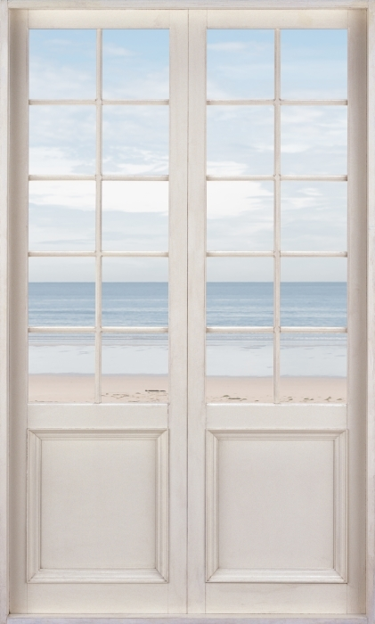 White door - the beach and the sea Vinyl Wall Mural - Views through the door