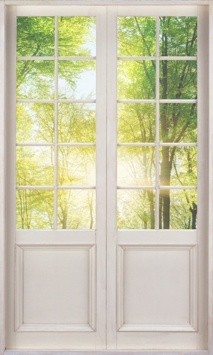 Papier peint vinyle Porte Blanche - Forêt - La vue à travers la porte