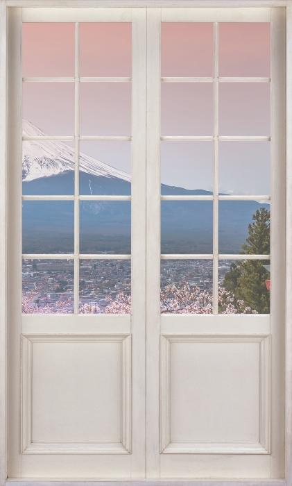 Papier peint vinyle Porte Blanche - Fuji - La vue à travers la porte