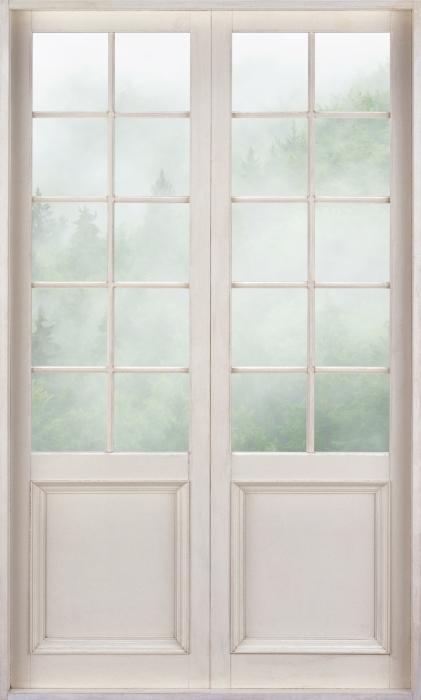 Fototapeta winylowa Białe drzwi - Las - Widok przez drzwi