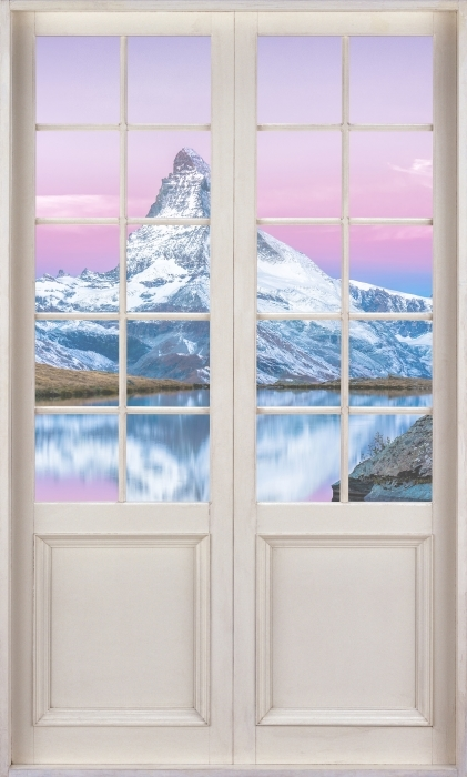 Vinyl-Fototapete Weiße Tür - See und die Berge - Blick durch die Tür